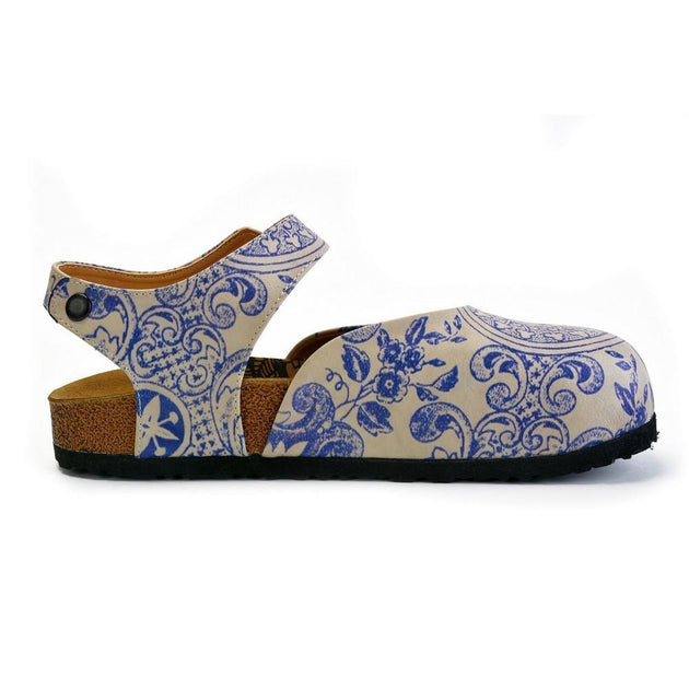 CALCEO Blue and Beige Flowers Patterned Clogs - CAL1603 Women Clogs Shoes - Goby Shoes UK