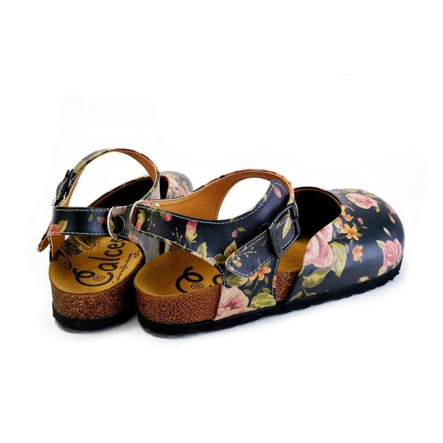 CALCEO Pink Roses and Orange Flowers, Green Leaf Patterned Clogs - CAL1604 Clogs Shoes - Goby Shoes UK