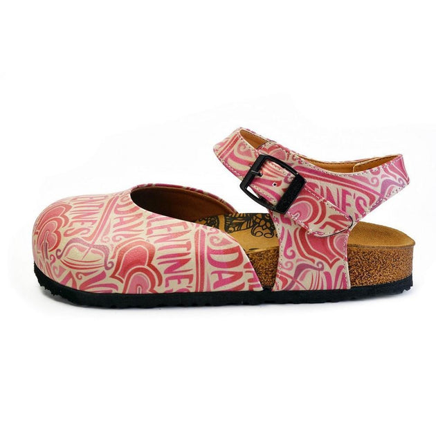CALCEO Beige and Red Color, Heart Patterned, Valentines Day Written Patterned Clogs - CAL1605 Women Clogs Shoes - Goby Shoes UK