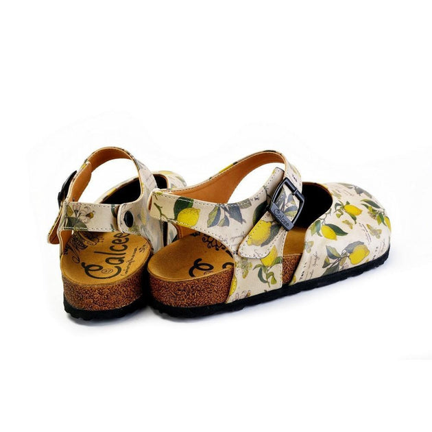 CALCEO Beige, Green Leaf and Yellow Lemon Patterned and Yellow Butterflys Clogs - CAL1606 Women Clogs Shoes - Goby Shoes UK