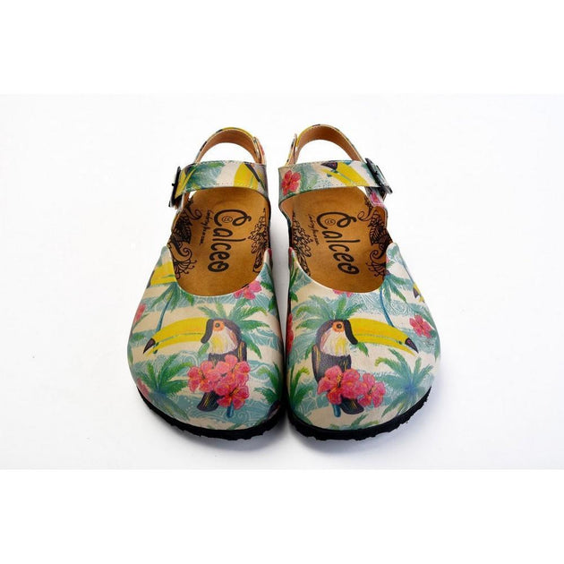 CALCEO Pink, Blue, Beige Color and Pink Flowers, Yellow Toucan Patterned Clogs - CAL1608 Clogs Shoes - Goby Shoes UK