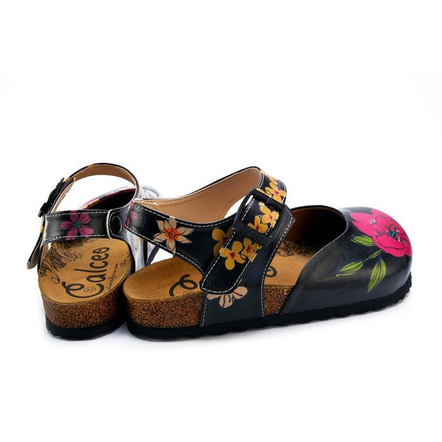 CALCEO Pink, White, Orange Flowers and Blue, Green Leaf Patterned Clogs - CAL1609 Clogs Shoes - Goby Shoes UK