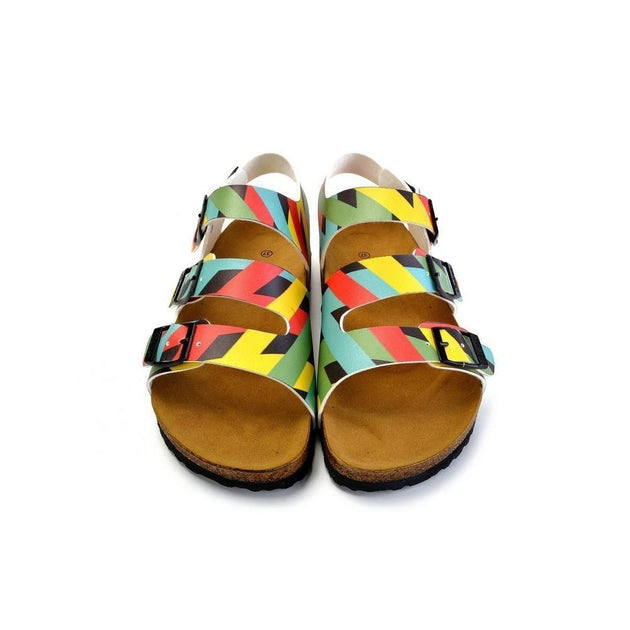 CALCEO Green, Yellow, Black, Blue Colored Strip Patterned Clogs - CAL1901 Women Clogs Shoes - Goby Shoes UK