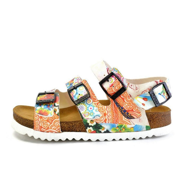 CALCEO Colored Strip and Colored Flowers Mixed Patterned Clogs - CAL1902 Women Clogs Shoes - Goby Shoes UK