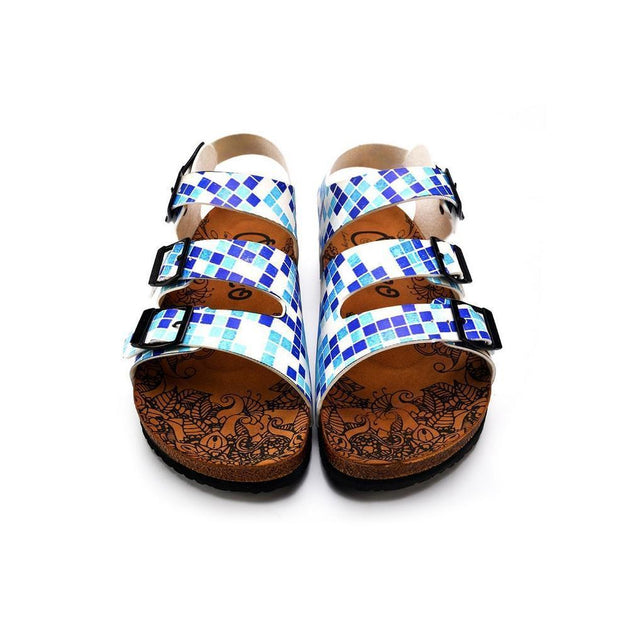 CALCEO Blue, Dark Blue and Light Blue Color Square Patterned Clogs - CAL1903 Women Clogs Shoes - Goby Shoes UK