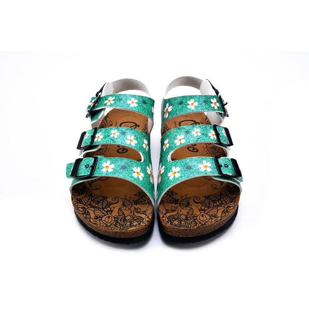 CALCEO Green Light and White Flowers Patterned Clogs - CAL1904 Women Clogs Shoes - Goby Shoes UK
