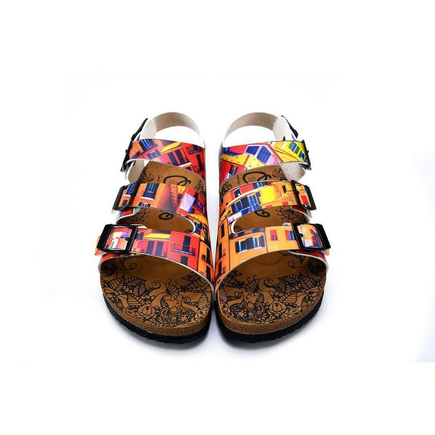 CALCEO Red, Orange, Yellow, Blue Colored Windows Patterned Clogs - CAL1905 Clogs Shoes - Goby Shoes UK