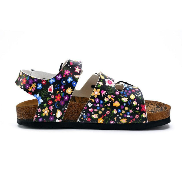 CALCEO Colored Flowers and Black Patterned Clogs - CAL1906 Women Clogs Shoes - Goby Shoes UK