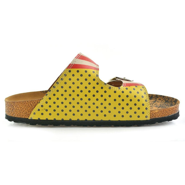 Yellow and Black Polkadot and Red, Cream Strip, Popcorn Written Patterned Sandal - CAL203