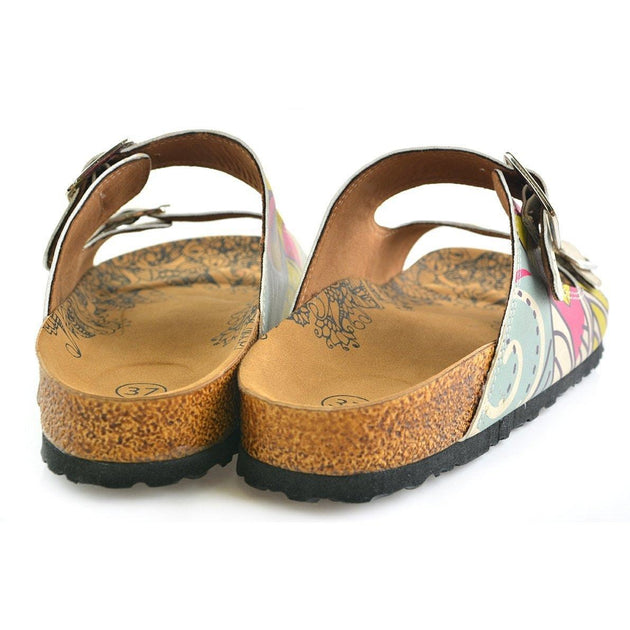 CALCEO Blue, Pink, Cream, Yellow Color, Flowers Owl Patterned Sandal - CAL205 Women Sandal Shoes - Goby Shoes UK