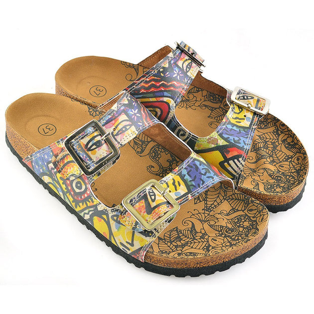 CALCEO Colored Art Table Patterned Sandal - CAL206 Women Sandal Shoes - Goby Shoes UK