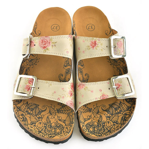 CALCEO Beige and Pink Roses, Green Leaf Patterned Sandal - CAL209 Women Sandal Shoes - Goby Shoes UK