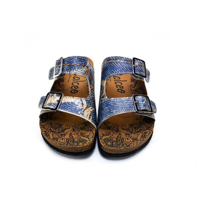 CALCEO Blue and Cream Jeans Patterned Sandal - CAL212 Women Sandal Shoes - Goby Shoes UK