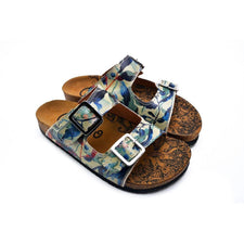 CALCEO Blue, Green and Colored Flowers Patterned Sandal - CAL213 Women Sandal Shoes - Goby Shoes UK