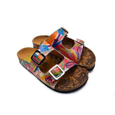 CALCEO Red and Blue Oil Color Patterned Sandal - CAL214 Sandal Shoes - Goby Shoes UK