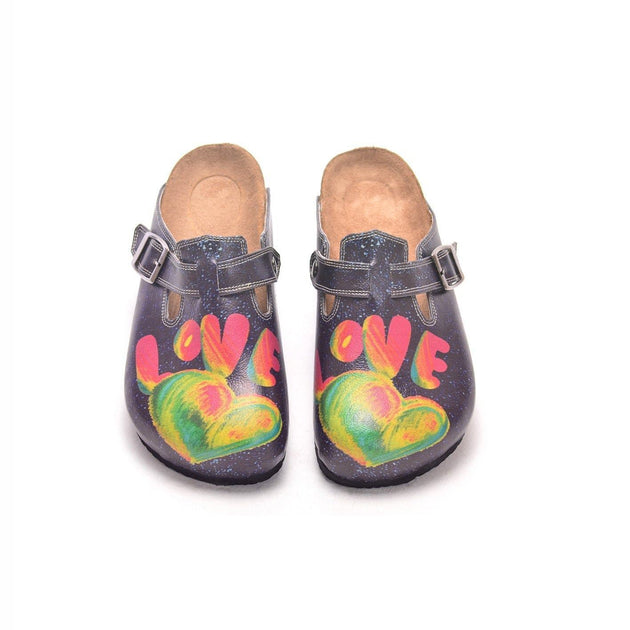 CALCEO Black and White Light and Heart Rainbow, Love Written Patterned Clogs - CAL303 Women Clogs Shoes - Goby Shoes UK