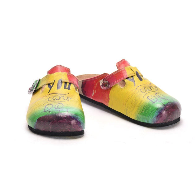 Yellow, Green, Purple, Red Color and You can do it, Patterned Clogs - CAL304