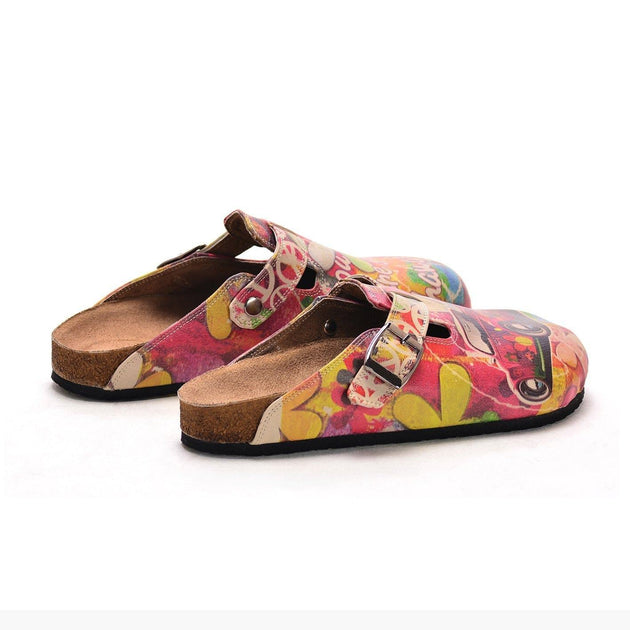 CALCEO Pink Car Flowers and Colored Flowers Patterned Clogs - CAL305 Clogs Shoes - Goby Shoes UK
