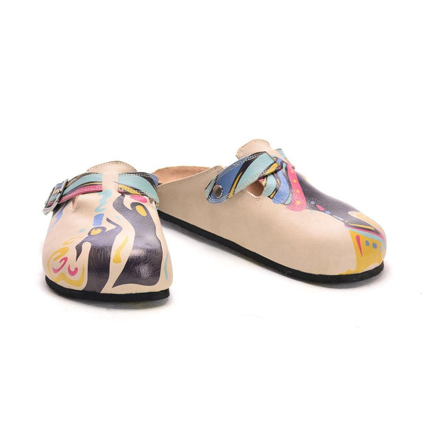 CALCEO Cream and Colored Striping and African Queen Patterned Clogs - CAL306 Women Clogs Shoes - Goby Shoes UK