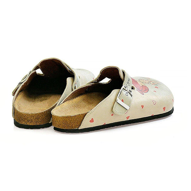 CALCEO Cream Color, Red Heart Men and Women Love, I Love You Written Patterned Clogs - CAL307 Women Clogs Shoes - Goby Shoes UK