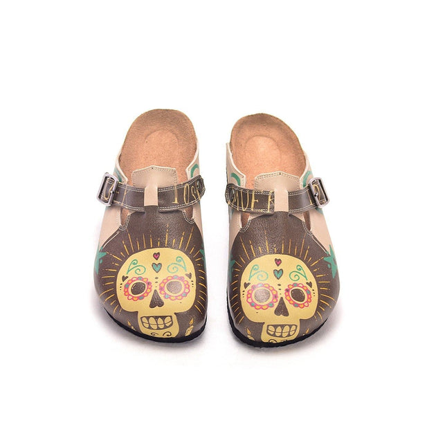 CALCEO Brown, Yellow Color and Cute Skull Patterned Clogs - CAL308 Women Clogs Shoes - Goby Shoes UK
