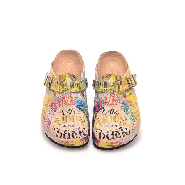 CALCEO Colorful Strip and Love You to the Moon and Back, Patterned Clogs - CAL309 Women Clogs Shoes - Goby Shoes UK