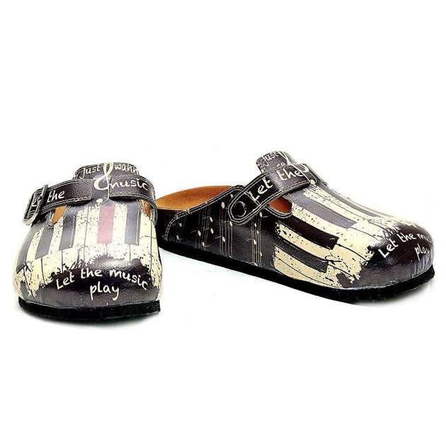 CALCEO Black and White, Red Piano Pattern and Let the Music Play Written Patterned Clogs - CAL311 Women Clogs Shoes - Goby Shoes UK