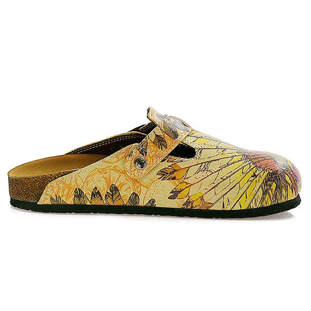 Yellow and Red Indian Skull Patterned Logs Clogs - CAL313