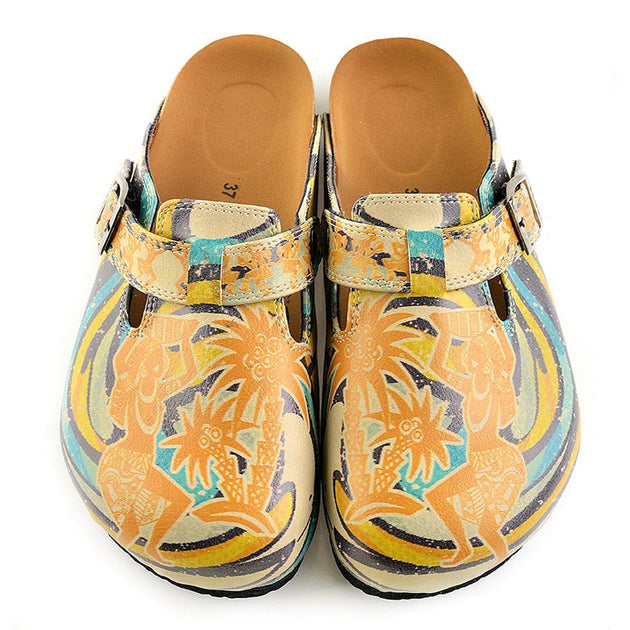 CALCEO Blue, Yellow and Tropicak Girl Patterned Clogs - CAL314 Women Clogs Shoes - Goby Shoes UK