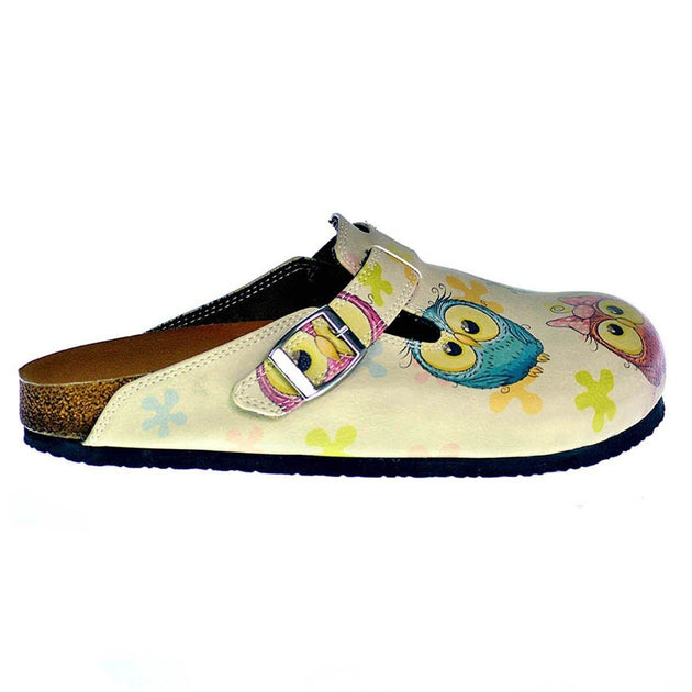 CALCEO Cream Color and Colorful Owl and Cute Elephant Patterned Clogs - CAL315 Women Clogs Shoes - Goby Shoes UK