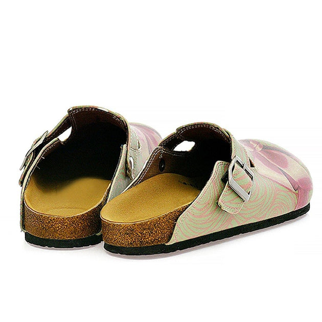 CALCEO Green, Purple Moving Lines and Pink Bow Patterned Clogs - CAL321 Women Clogs Shoes - Goby Shoes UK