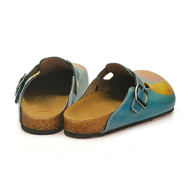 CALCEO Blue Color and Sleeping Baby, Yellow Sleeping Moon Patterned Clogs - CAL334 Women Clogs Shoes - Goby Shoes UK