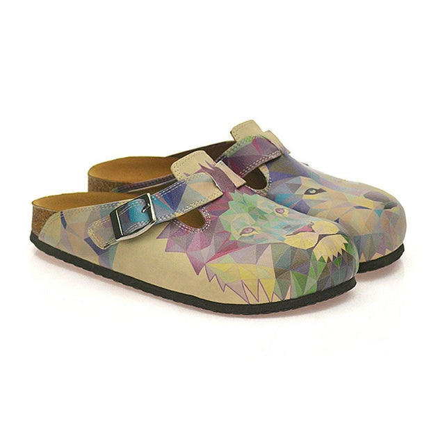 CALCEO Beige Colored, Blue, Purple, Green Lion and Purple, Dark Blue Wolf Patterned Clogs - CAL335 Women Clogs Shoes - Goby Shoes UK
