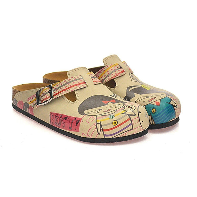 CALCEO Red, Grey, Orange Strip and Round, Being in Love Written Girls Patterned Clogs - CAL336 Clogs Shoes - Goby Shoes UK