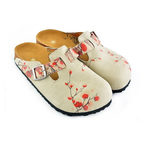 CALCEO Beige Colored and Red Flowers Patterned Clogs - CAL340 Women Clogs Shoes - Goby Shoes UK