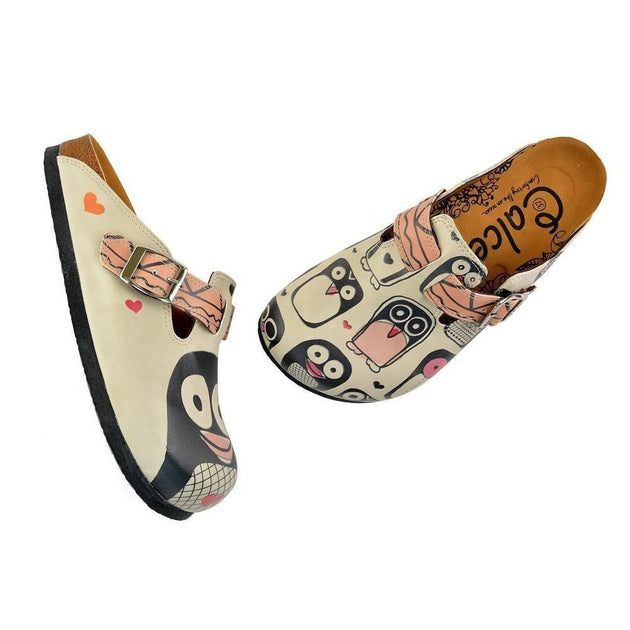 CALCEO Light Pink, Black Striped and Black Cute Penguins Patterned Clogs - CAL347 Women Clogs Shoes - Goby Shoes UK