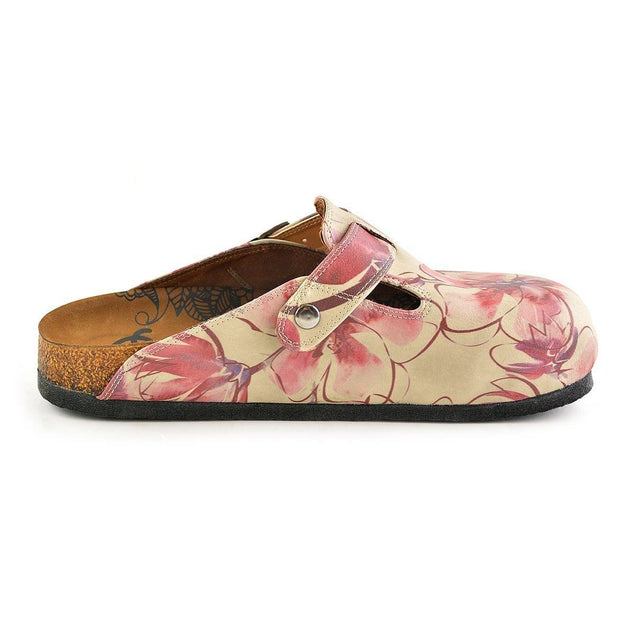 CALCEO Red Colored and Flowers Patterned Clogs - CAL348 Clogs Shoes - Goby Shoes UK