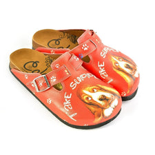 CALCEO Red, White Colored and White Paw, Brown Cute Dog and Take Suppers Written Patterned Clogs - CAL349 Clogs Shoes - Goby Shoes UK