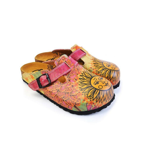 CALCEO Orange, Purple, Yellow Flowers and Yellow Sun Patterned Clogs - CAL368 Clogs Shoes - Goby Shoes UK