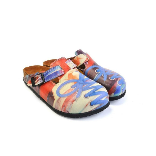 CALCEO Red Colored Patterned and Blue Laced Pow Patterned Clogs - CAL369 Clogs Shoes - Goby Shoes UK