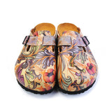 Calceo CAL371 Purple & Pink Floral Slip On Clogs Women Clogs Shoes - Goby Shoes UK