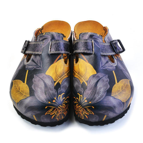 CALCEO Grey, Dark Blue Flowers and Gold Leafs Patterned Clogs - CAL372 Women Clogs Shoes - Goby Shoes UK