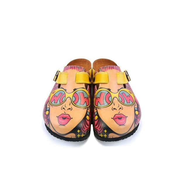 CALCEO Girl With Yellow Pattern and Pink Hair, Yellow Wow Writing Glasses Girl Clogs - CAL373 Women Clogs Shoes - Goby Shoes UK