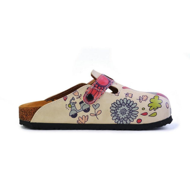 CALCEO Pink, Blue, Red Flowers Pattern and Red Birds, White and Pink Love Written Owl Patterned Clogs - CAL374 Clogs Shoes - Goby Shoes UK