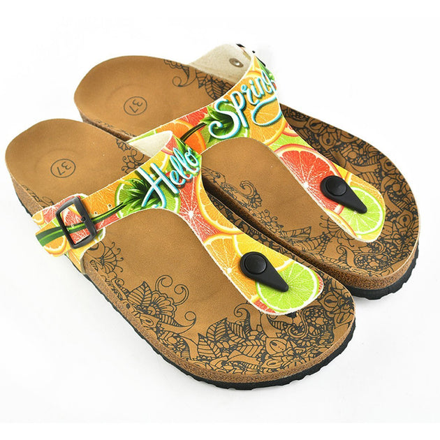 CALCEO Hello Spring Written and Green, Orange, Red Lemon, Orange Patterned Sandal - CAL503 Women Sandal Shoes - Goby Shoes UK