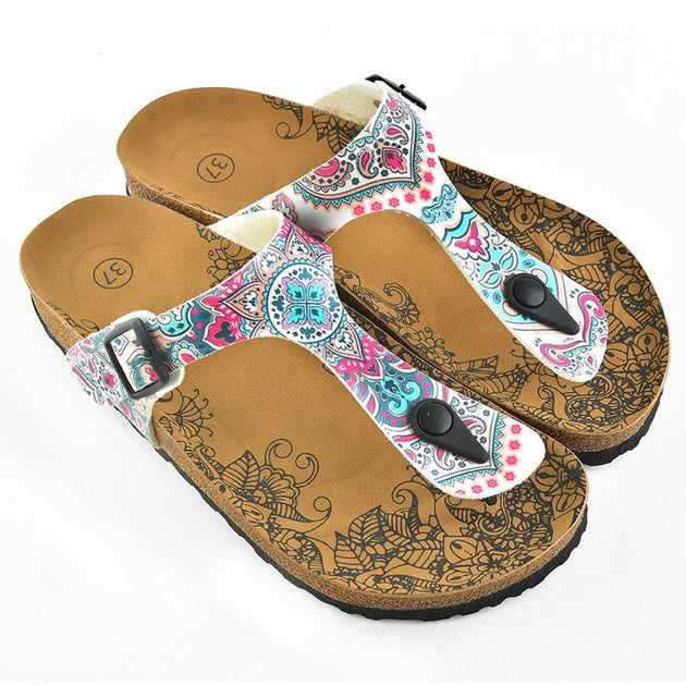 White, Blue, Pink Flowers Medallion Patterned Sandal - CAL504