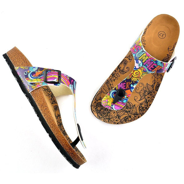 CALCEO Summer Written, Purple, Colored Mixed Pattern and Yellow Sun Patterned Sandal - CAL507 Sandal Shoes - Goby Shoes UK