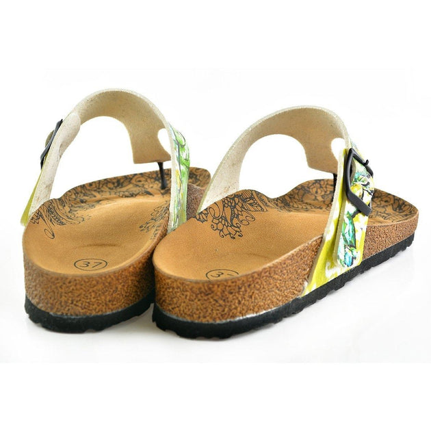 CALCEO Escape to Jungle Written, Green Colored Black Monkey Patterned Sandal - CAL508 Women Sandal Shoes - Goby Shoes UK
