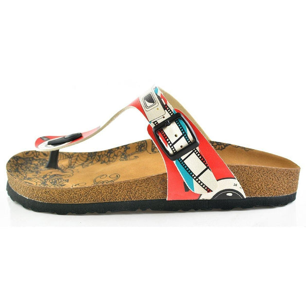 CALCEO Red, Blue and White Strip and Camera Patterned Sandal - CAL509 Sandal Shoes - Goby Shoes UK
