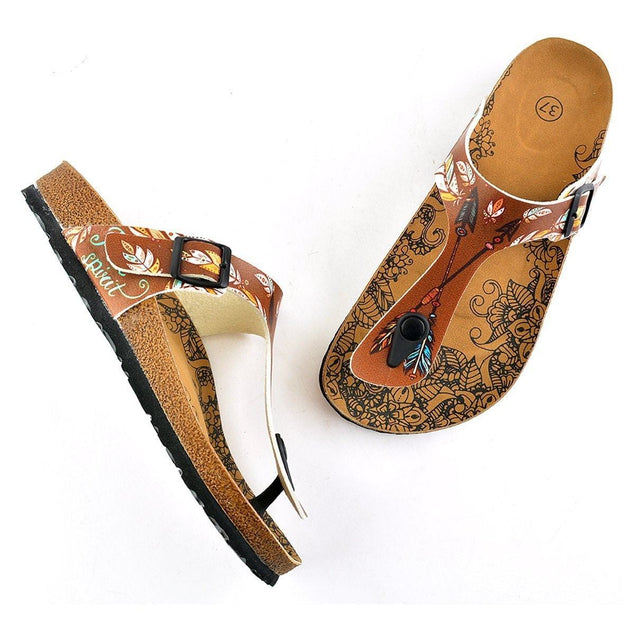 CALCEO Brown Colored and Black Colored Feather Arrow Patterned Sandal - CAL510 Women Sandal Shoes - Goby Shoes UK